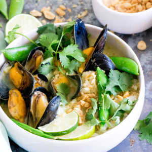 Thai green curry with mussels