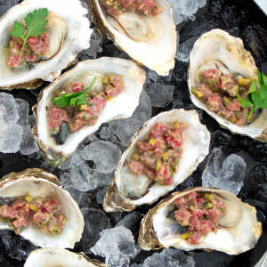 Oysters with steak tartare