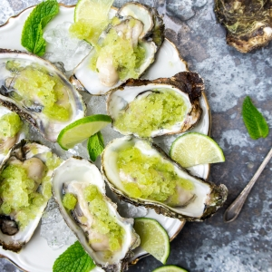 Oysters with Thai cucumber and lime granita