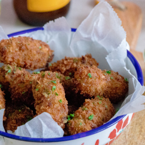 Mussel croquettes with piccalilli mayonnaise