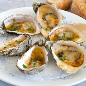 Oysters gratin with a kick