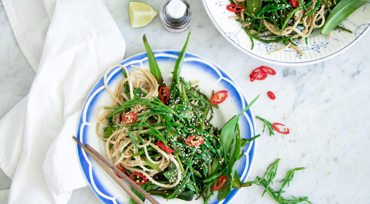 Oriental wok with marsh samphire and sea asters