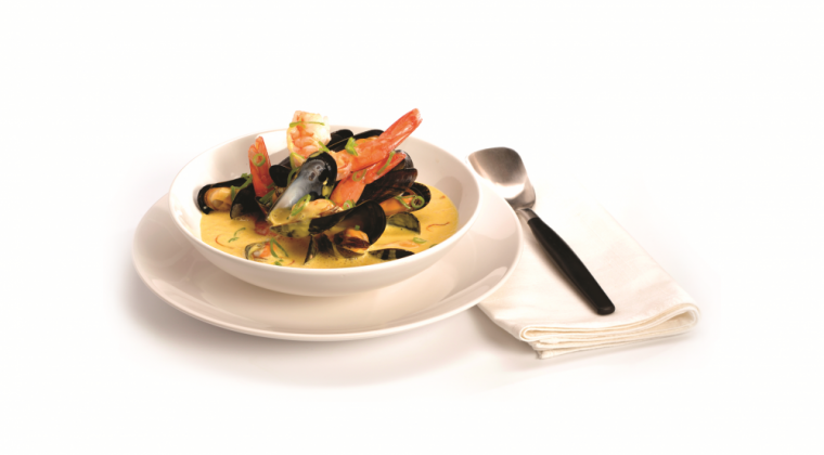 Mussels and shrimps in a saffron soup