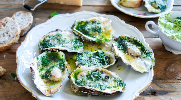 Grilled oysters with home-made herb butter