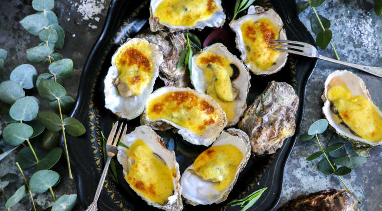Oysters gratin with champagne