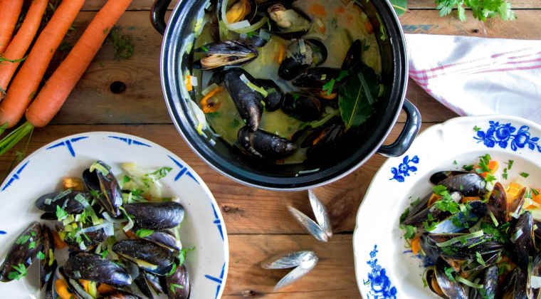 Mussels with carrot and fennel